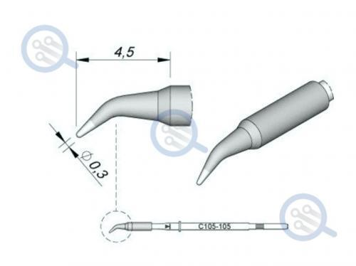 jbc c105-105 bent tip micro soldering 0.3mm