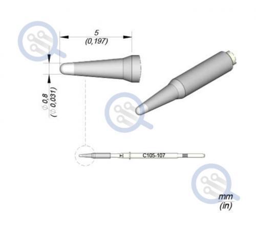 jbc c105-107 0.8mm straight tip